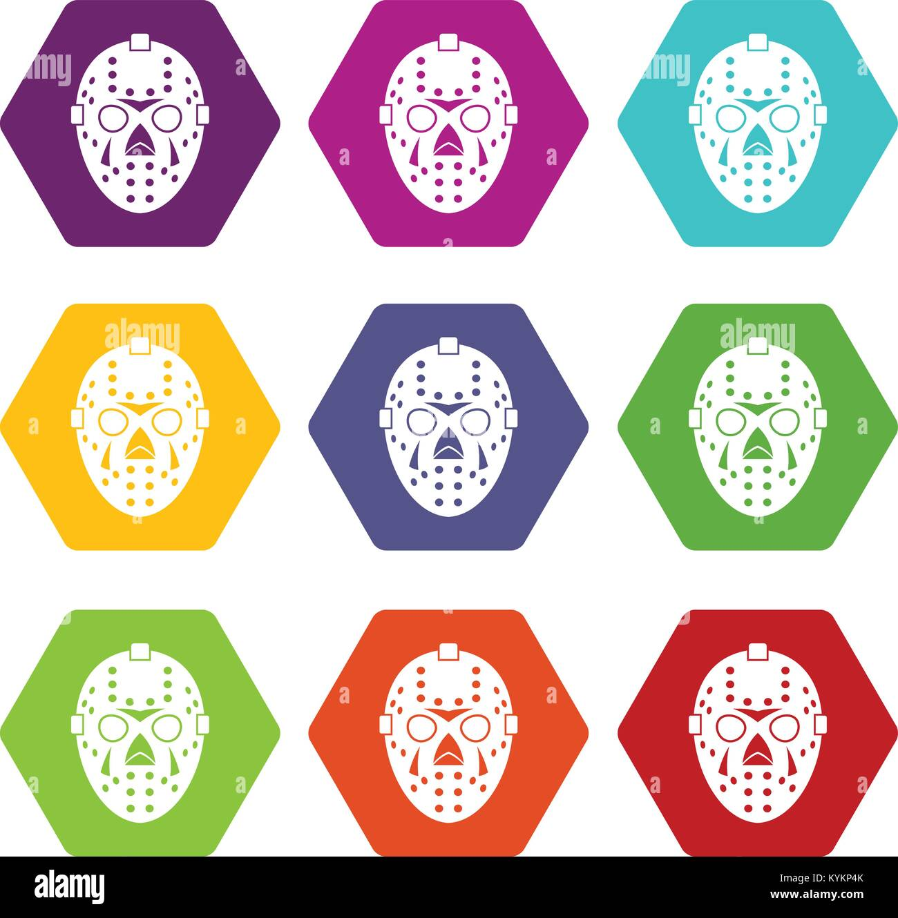 Goalkeeper mask icon set color hexahedron - Stock Image