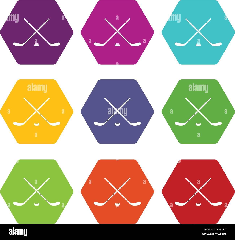 Hockey icon set color hexahedron - Stock Vector