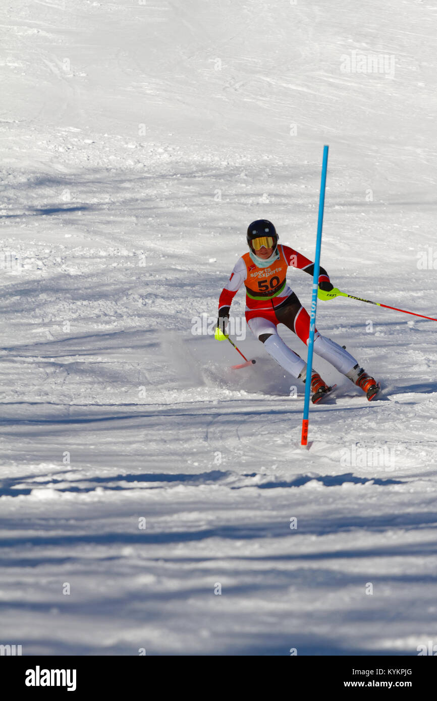 Val Saint-Come,Canada 14/01/2018.Sarah Mains of Canada for Team McGill competes  at the Super Series women slalom - Stock Image