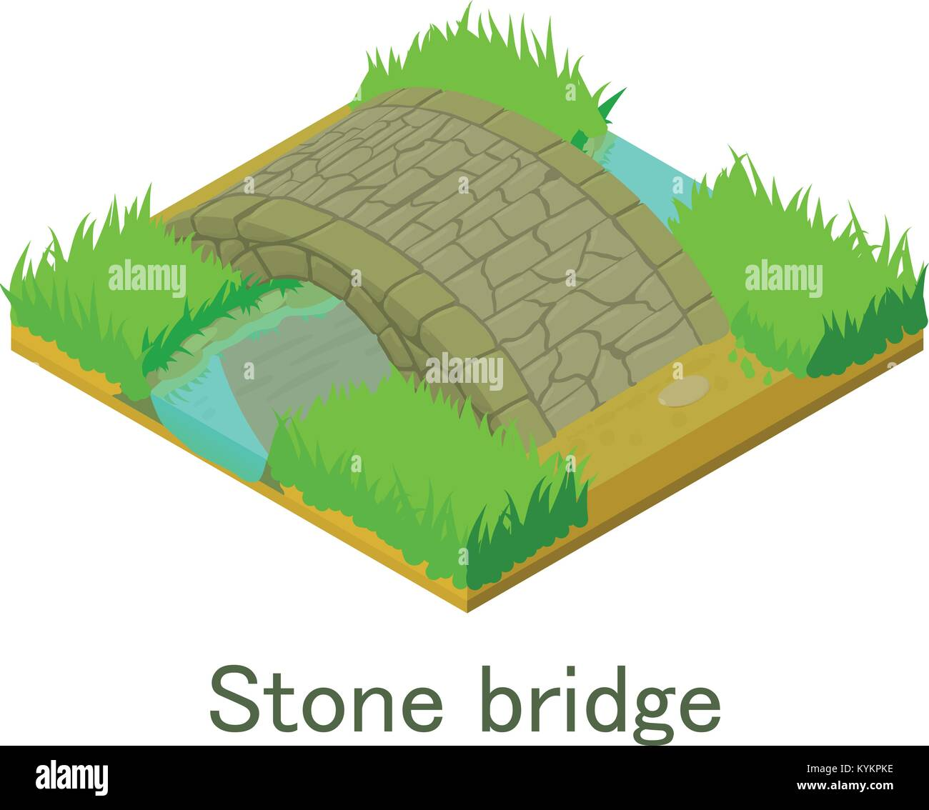 Stone broge icon, isometric style. - Stock Image