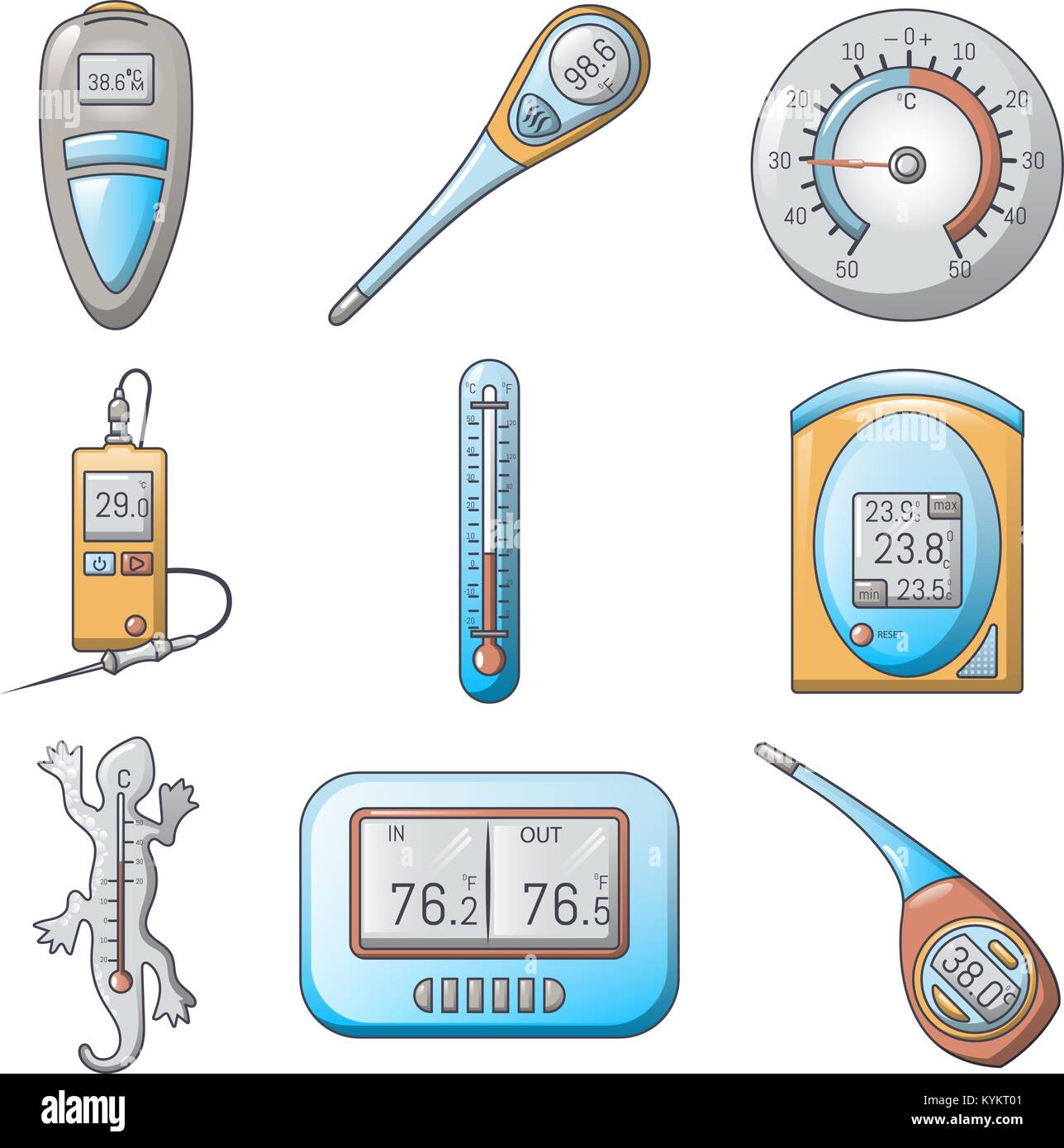 Thermometer indicators icons set, cartoon style - Stock Vector