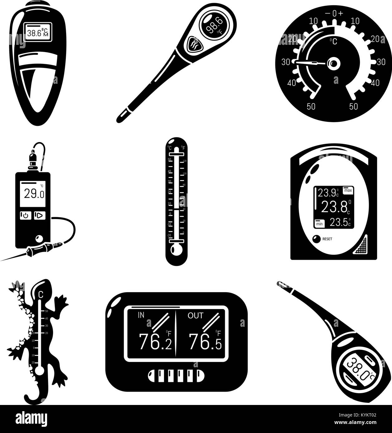 Thermometer indicators icons set, simple style - Stock Image