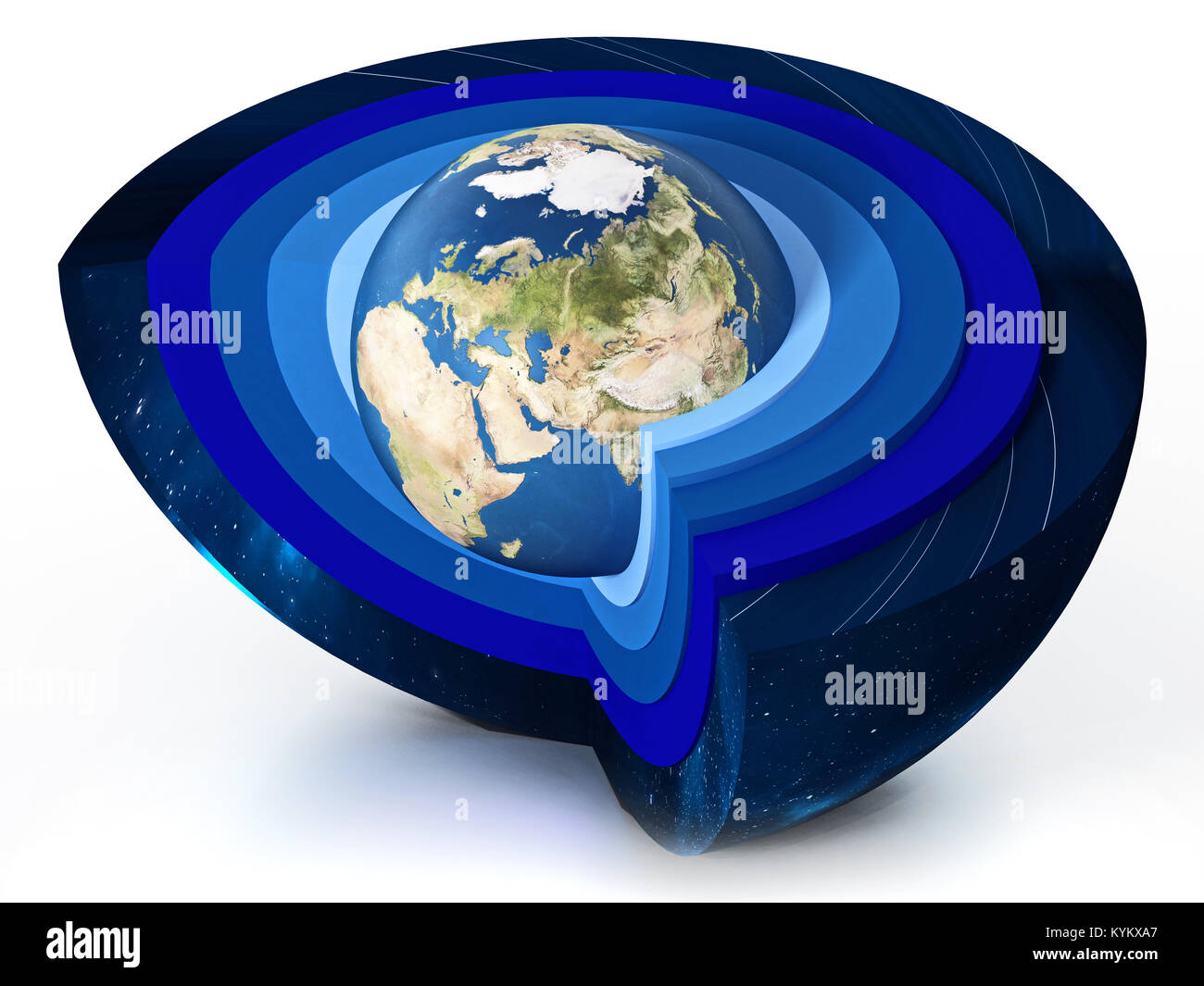 Earth levels of atmosphere diagram. 3D illustration. - Stock Image