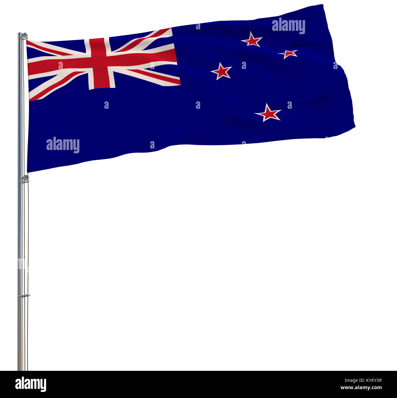 Isolate flag of New Zealand on a flagpole fluttering in the wind on a white background, 3d rendering - Stock Image