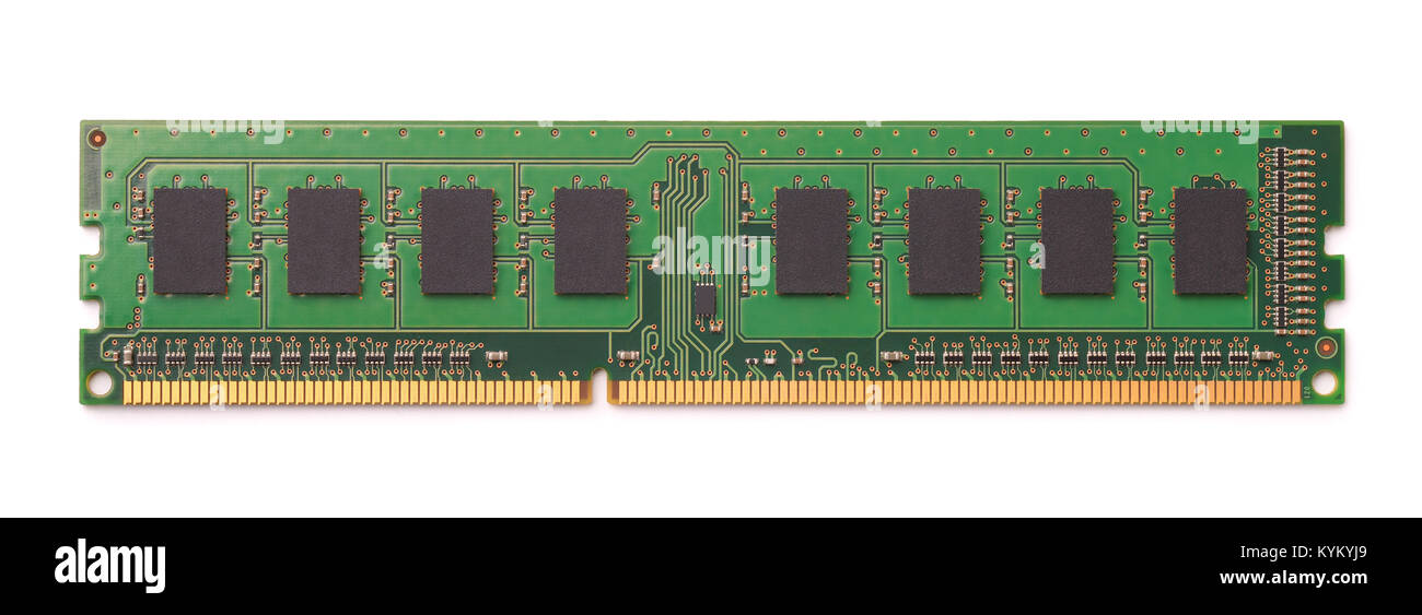 Top view of computer RAM module isolated on white - Stock Image