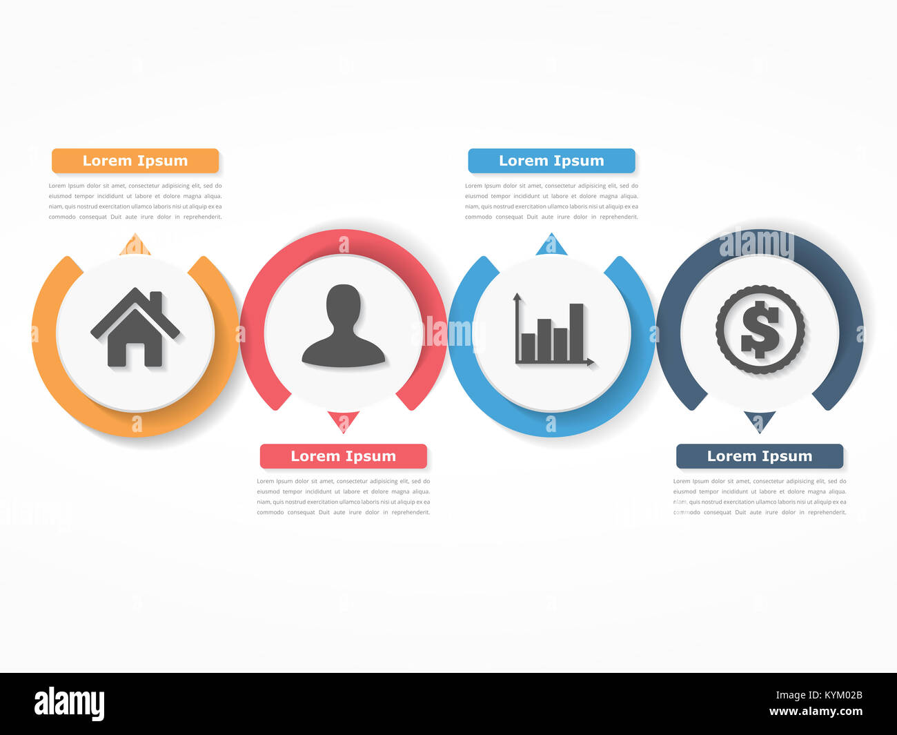 Process chart template with circles flowchart or workflow with four process chart template with circles flowchart or workflow with four elements steps or options business infographics vector eps10 illustration cheaphphosting Gallery