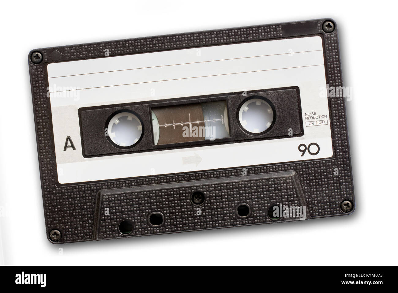 Audio cassette tape isolated on white background, vintage 80's music concept - Stock Image