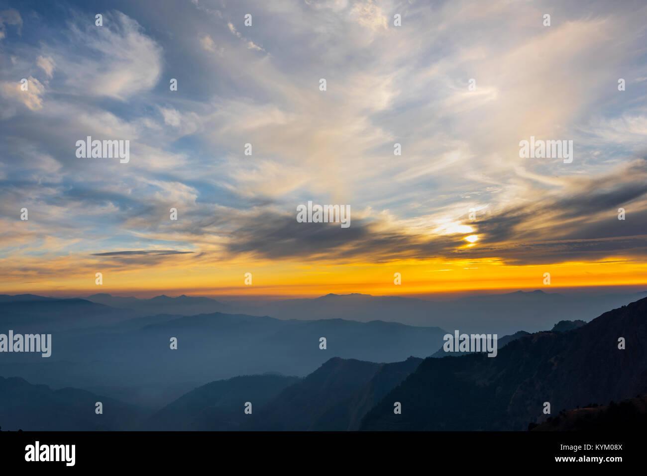 Sunset Diaries, Prashar Lake, Mandi, Himachal Pradesh, India - Stock Image