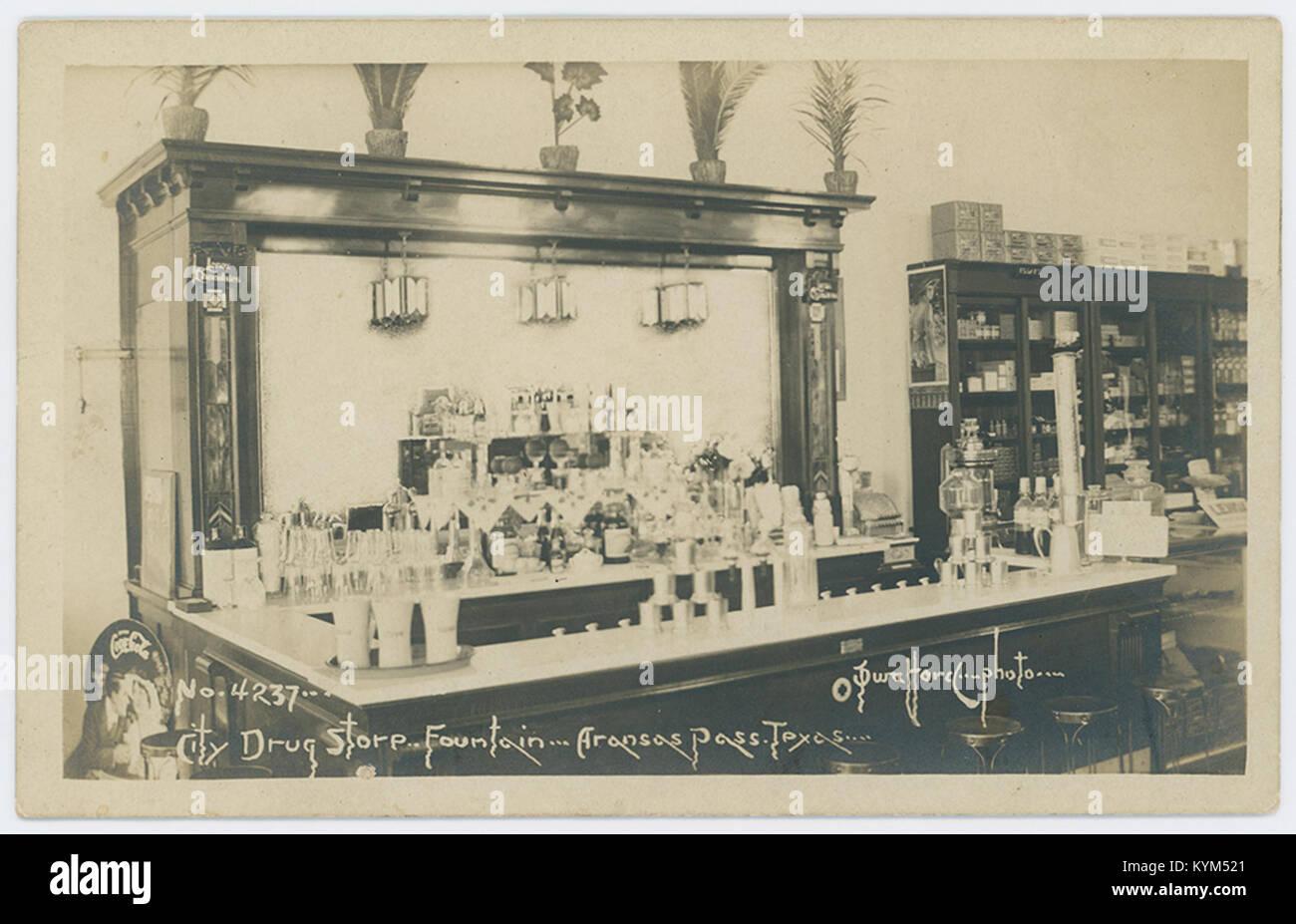 City Drug Store Fountain, Aransas Pass, Texas 35710423321 o - Stock Image