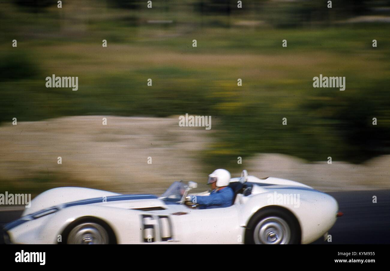 Action View At Speed Of The Lister Jaguar Prototype Knobbly No. 60 Race Car,  Driven By Walt Hansgen During The Sports Car Club Of Americau0027s SCCA  National ...