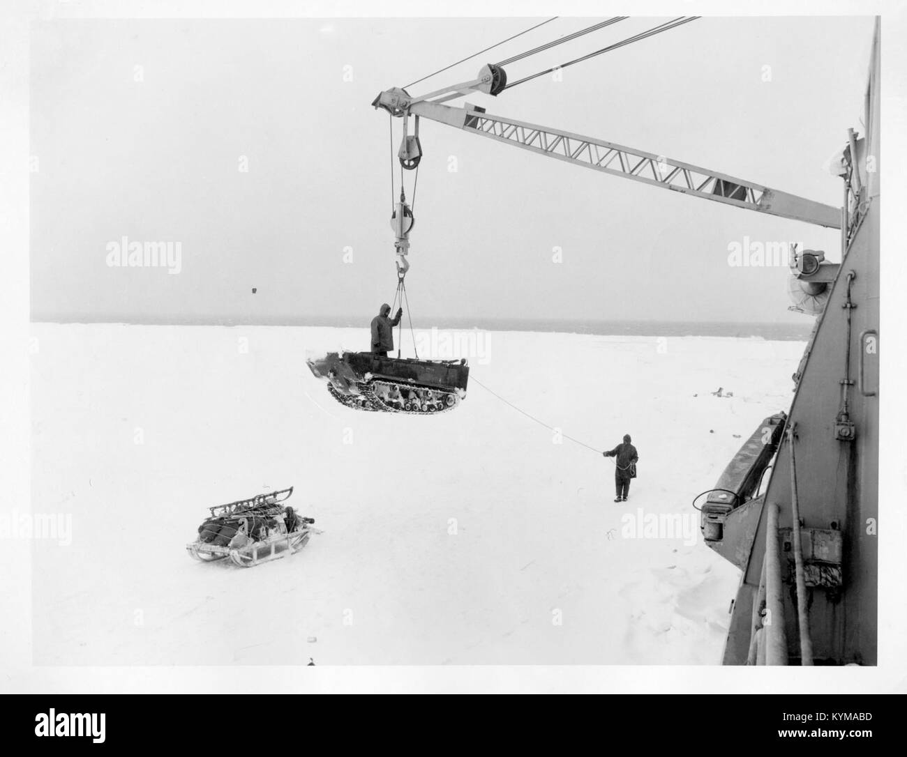 Operation Windmill Expedition Members Unloading Equipment 5243855016 o - Stock Image