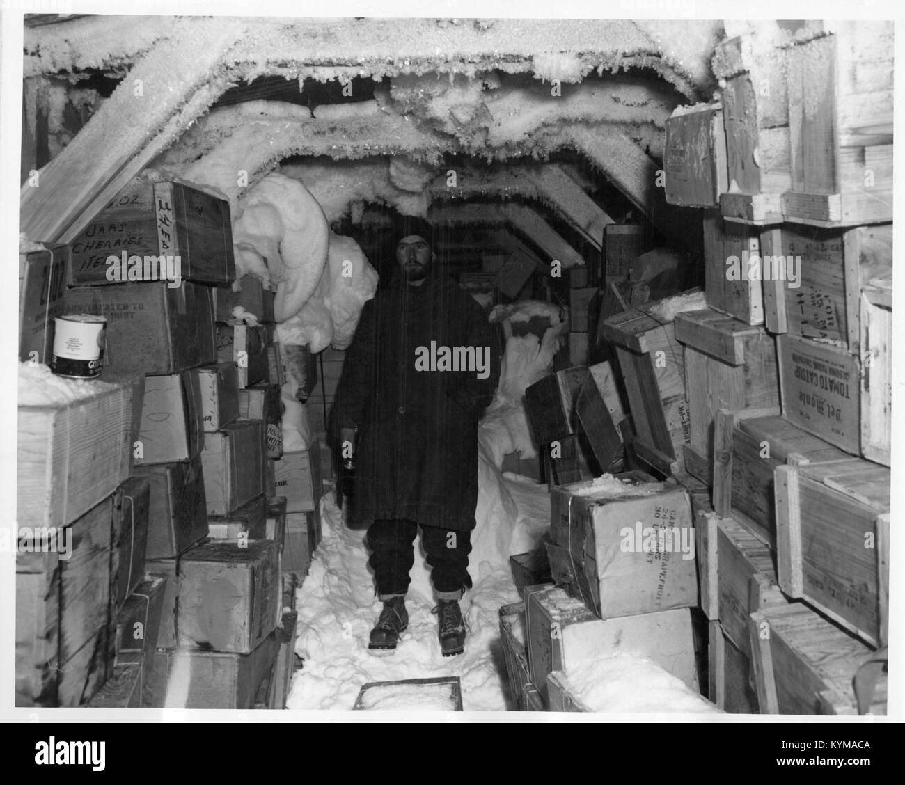 Operation Windmill Expedition Member Inside Building in Antarctica 5243862712 o - Stock Image