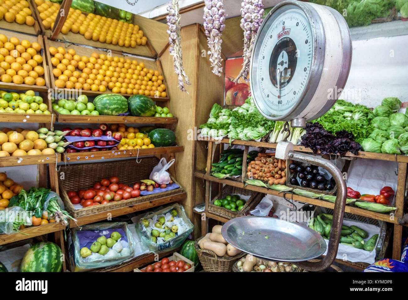 Buenos Aires Argentina Palermo market produce stand fruits scale oranges lettuce melon Hispanic Argentinean Argentinian - Stock Image