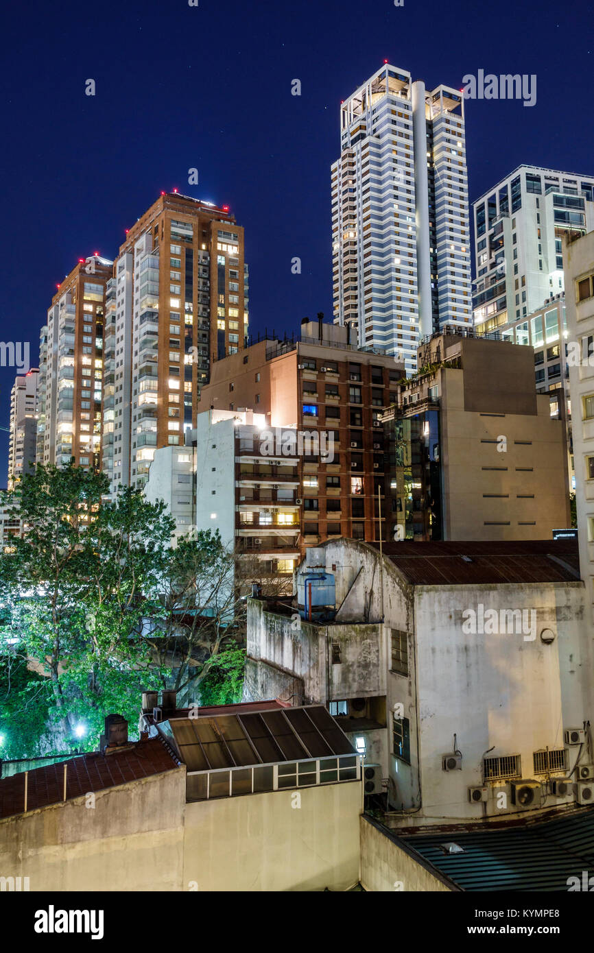 Buenos Aires Argentina,Palermo,night evening,city skyline,buildings,evening,apartments,high rise rises skyscraper skyscrapers building buildings tower Stock Photo