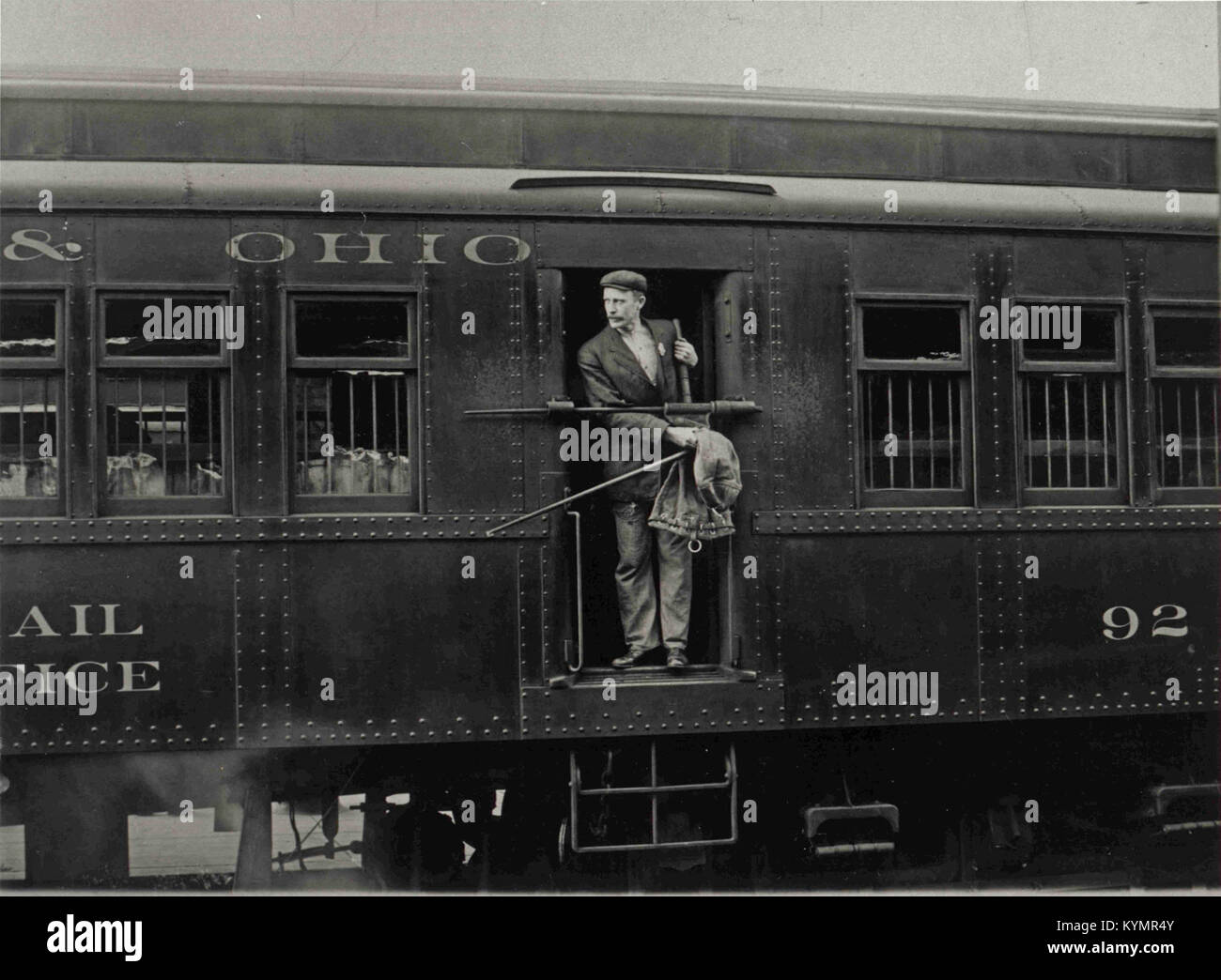 Railway Post Office Clerk in Mail Car 2551091684 o - Stock Image