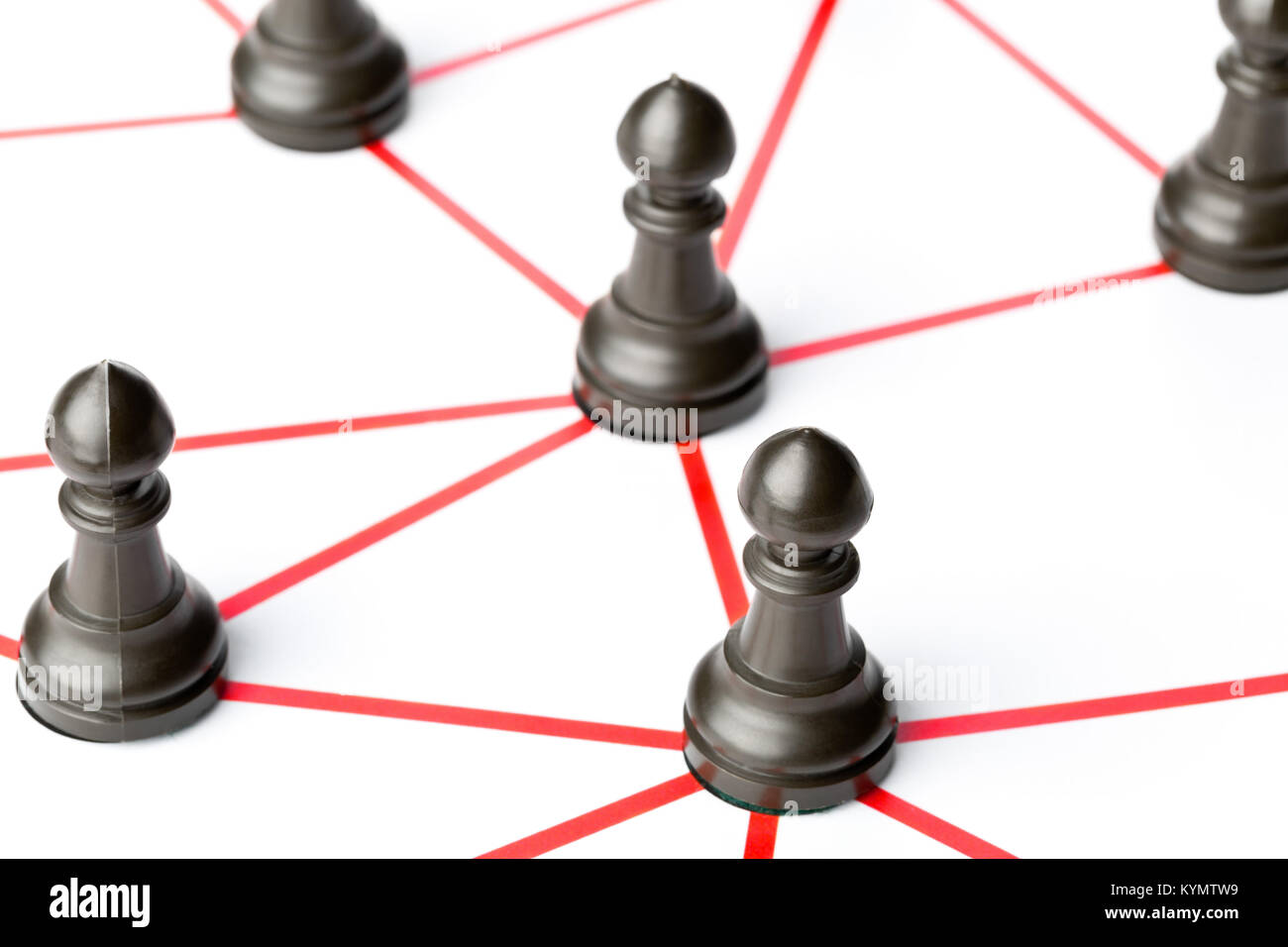 Chess pawn figures connected by red lines over white background - teamwork, connections or social network concept - Stock Image
