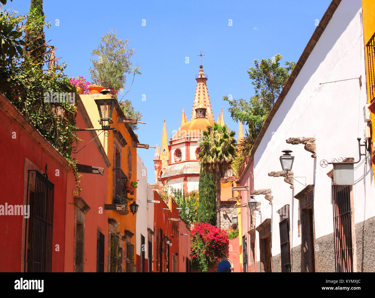 Archangel church Dome Steeple. View from Aldama Street Parroquia, San Miguel de Allende, Guanajuato state, Mexico, - Stock Image