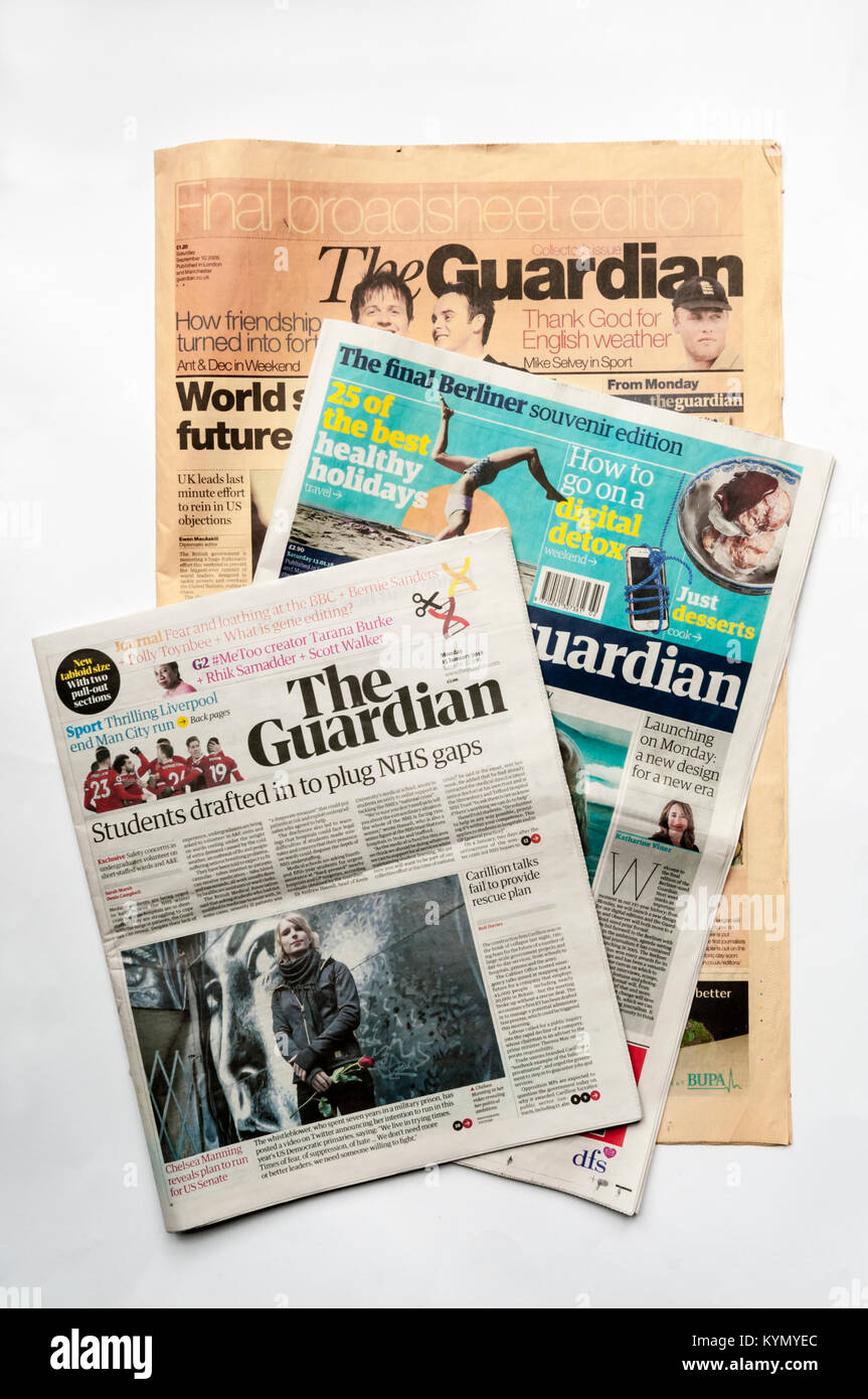 The final broadsheet copy of The Guardian newspaper, the final Berliner copy and the first tabloid size copy showing - Stock Image