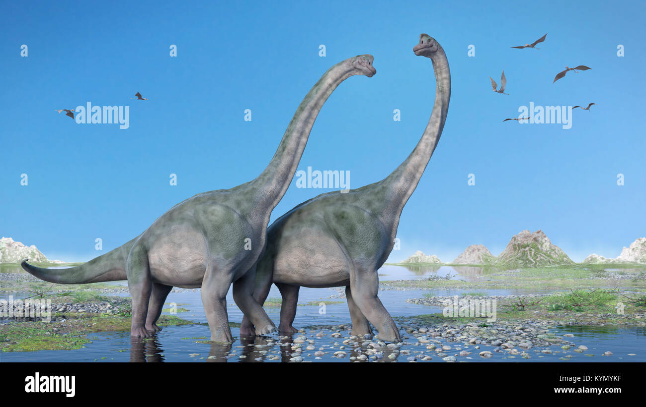 couple of Brachiosaurus altithorax and a flock of Pterosaurs in a scenic Late Jurassic landscape (3d illustration) Stock Photo