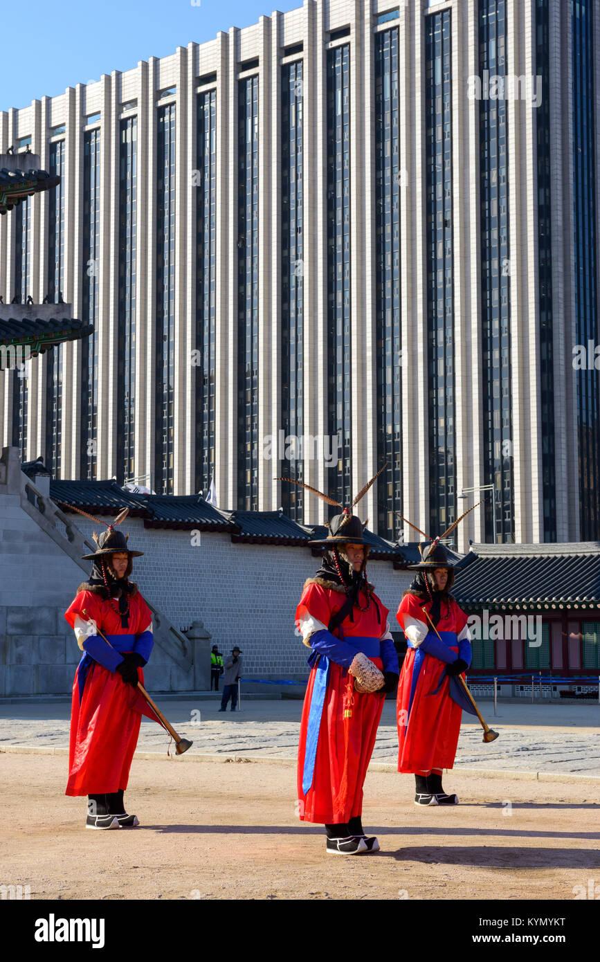 Changing of the royal guard at Gyeongbokgung Palace,Jongno-gu, Seoul Stock Photo