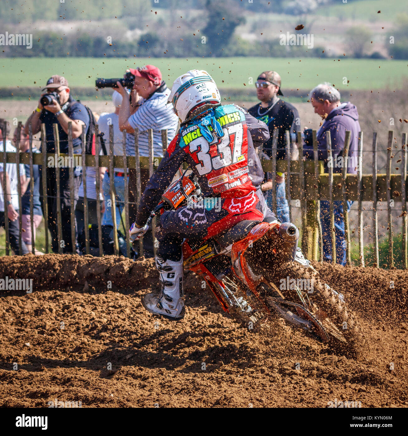 Glenn McCormick on the Agnew Recovery - Watt MC'S KTM MX2 at the 2017 Maxxis British Championship, Cadders Hill, - Stock Image