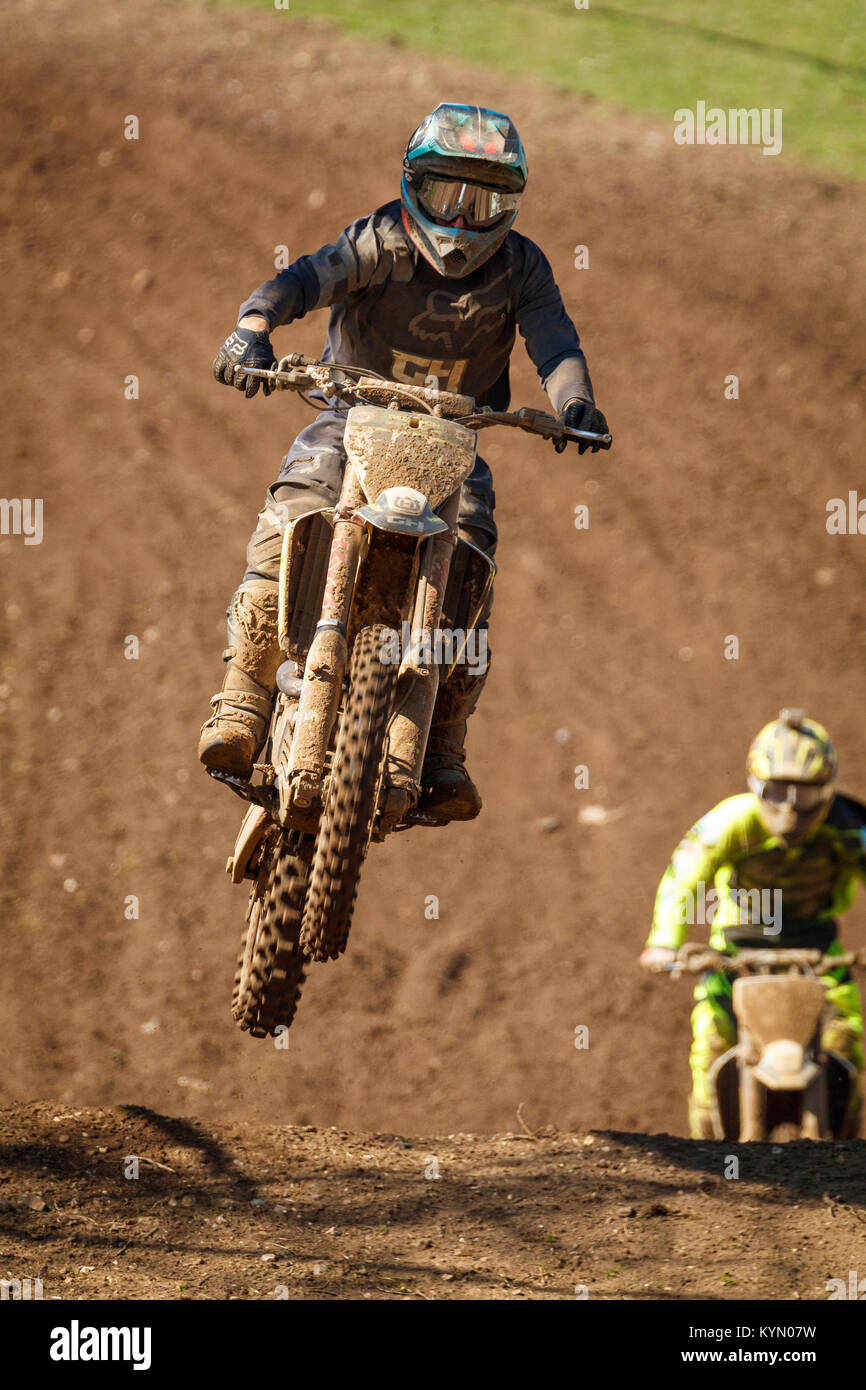 Luke Benstead on the GH Motorcycles - G4B Finch Husqvarna at the 2017 Maxxis British Championship, Cadders Hill, - Stock Image