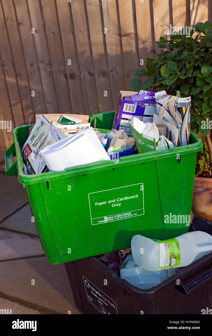 Paper and Card Recycling Boxes England UK United Kingdom GB Great Britain - Stock Image