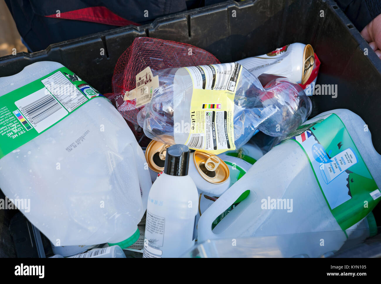 Plastics and Tins in a Recycling Box England UK United Kingdom GB Great Britain - Stock Image
