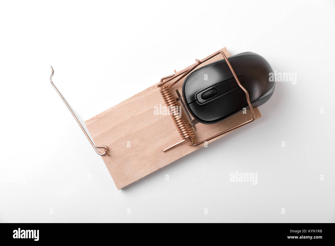 computer mouse in mousetrap - censored internet and web crime concept. top view - Stock Image