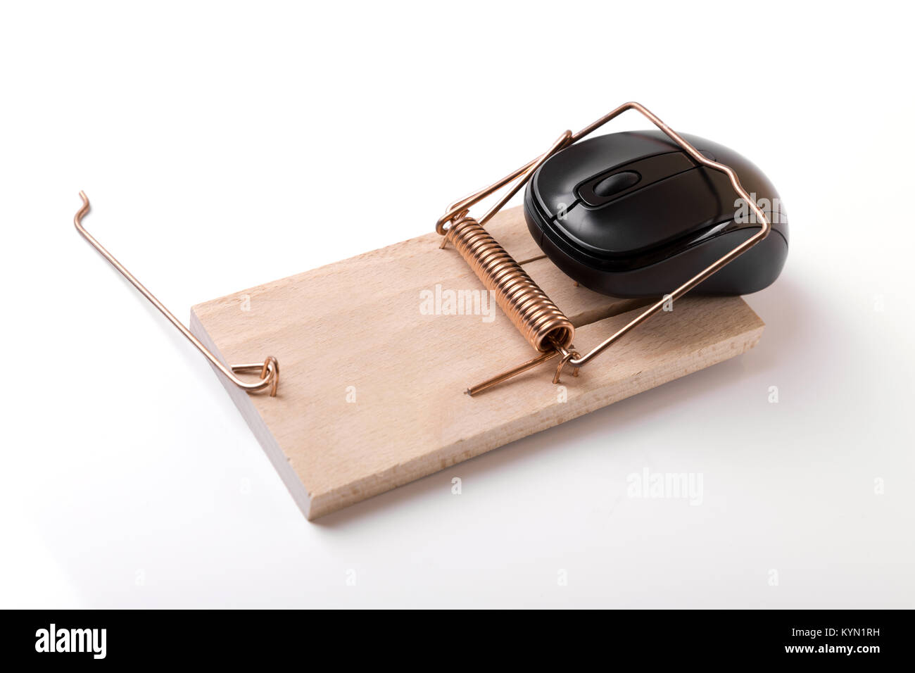 computer mouse in mousetrap - censored internet and web crime concept - Stock Image