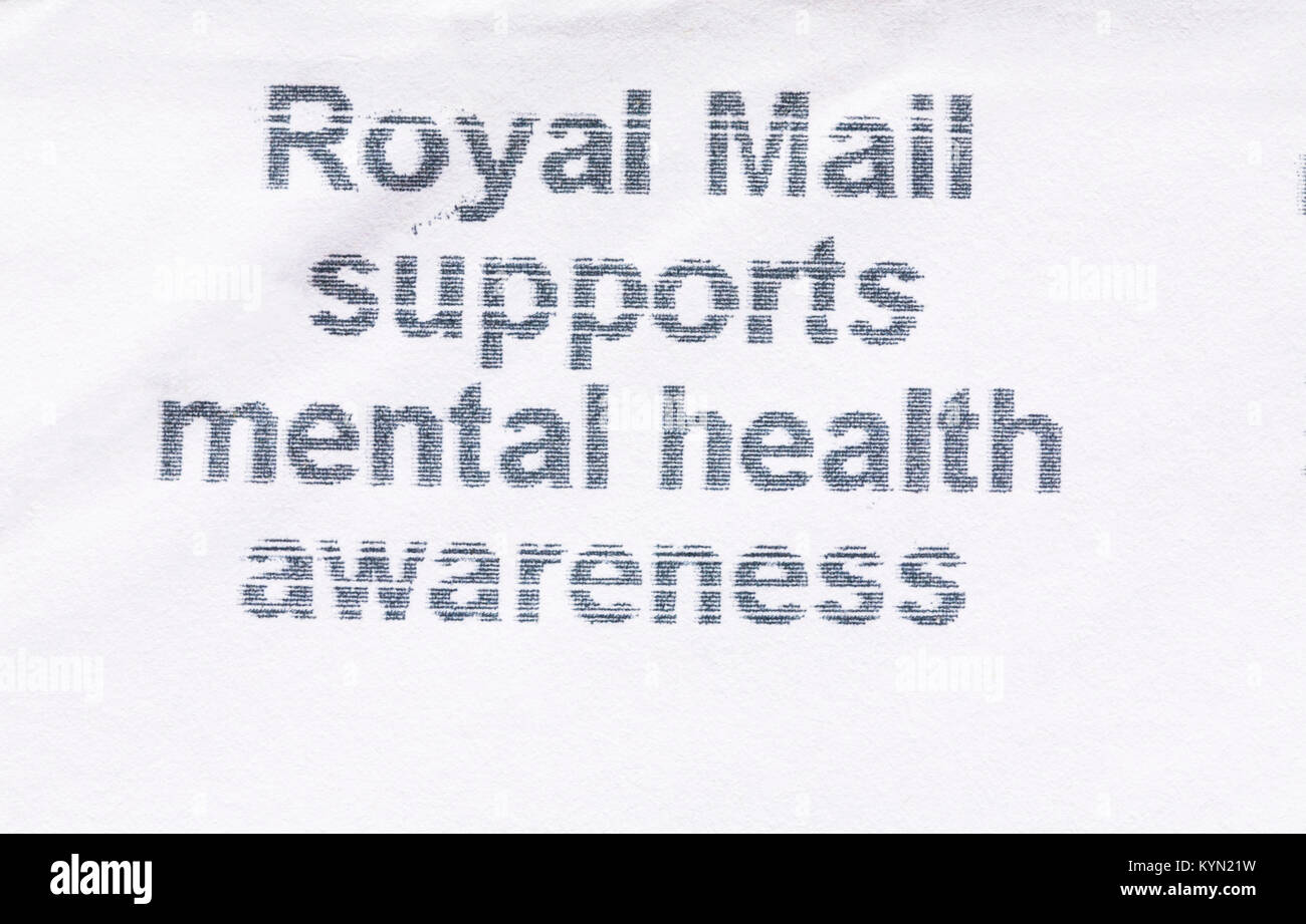 Royal Mail supports mental health awareness message on envelope - Stock Image