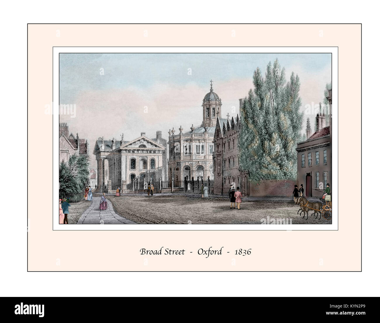 Broad Street Oxford Original Design based on a 19th century Engraving - Stock Image