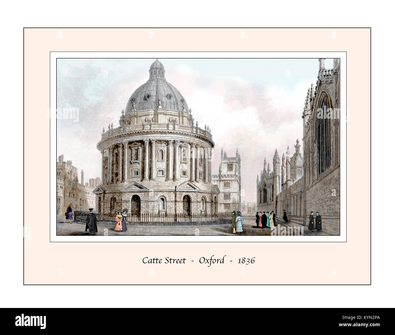 Catte Street Oxford Original Design based on a 19th century Engraving - Stock Image