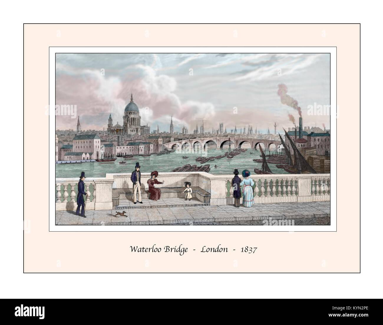 Waterloo Bridge London Original Design based on a 19th century Engraving - Stock Image