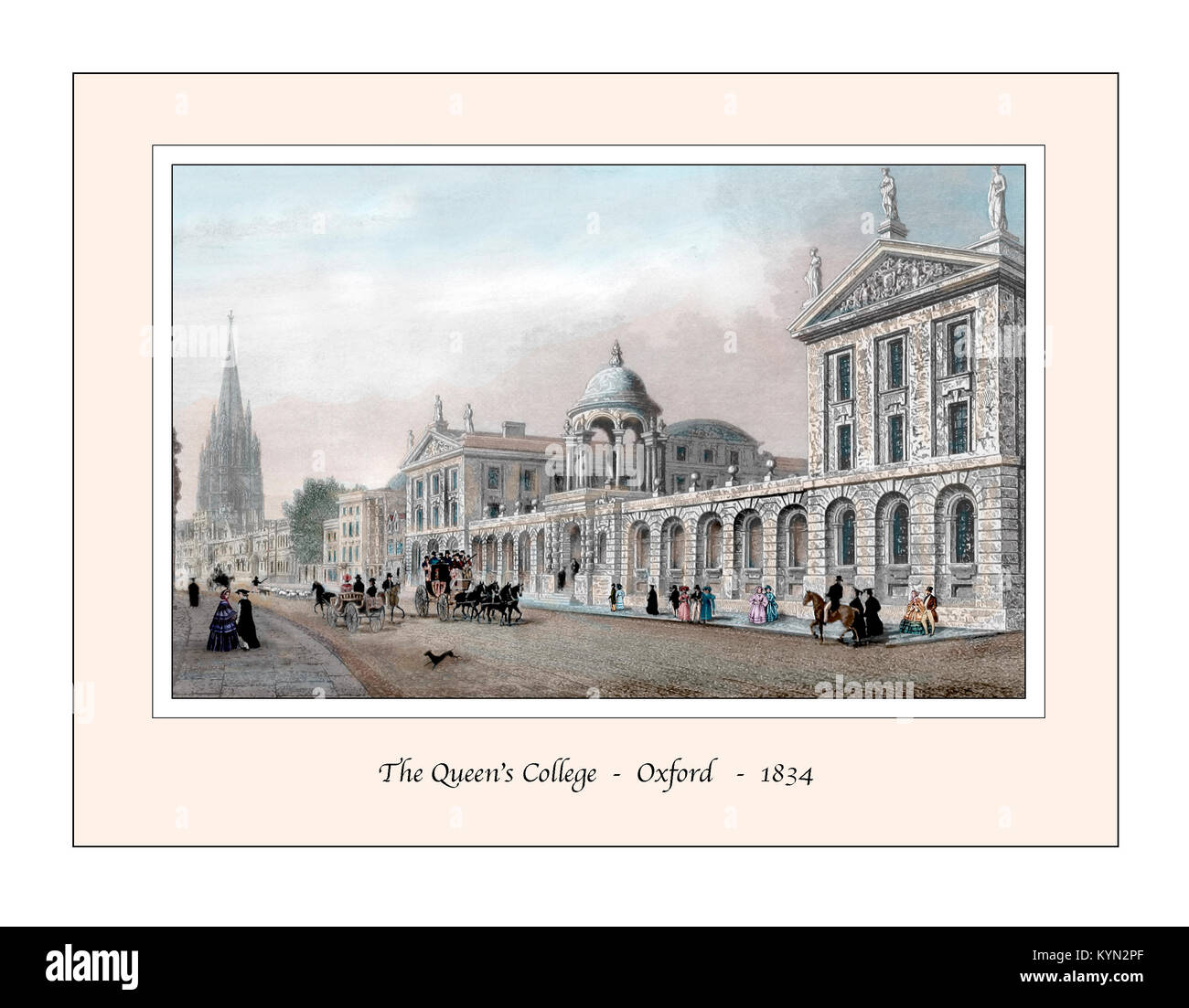 The Queen's College Oxford Original Design based on a 19th century Engraving - Stock Image
