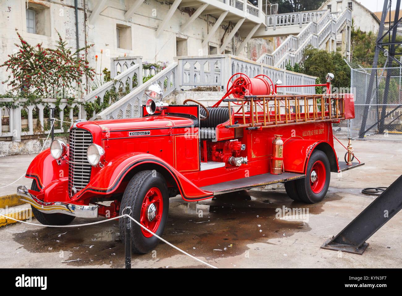 Vintage red Alcatraz Fire Dept fire engine on display at Alcatraz Federal Penitentiary, Alcatraz Island, San Francisco, - Stock Image