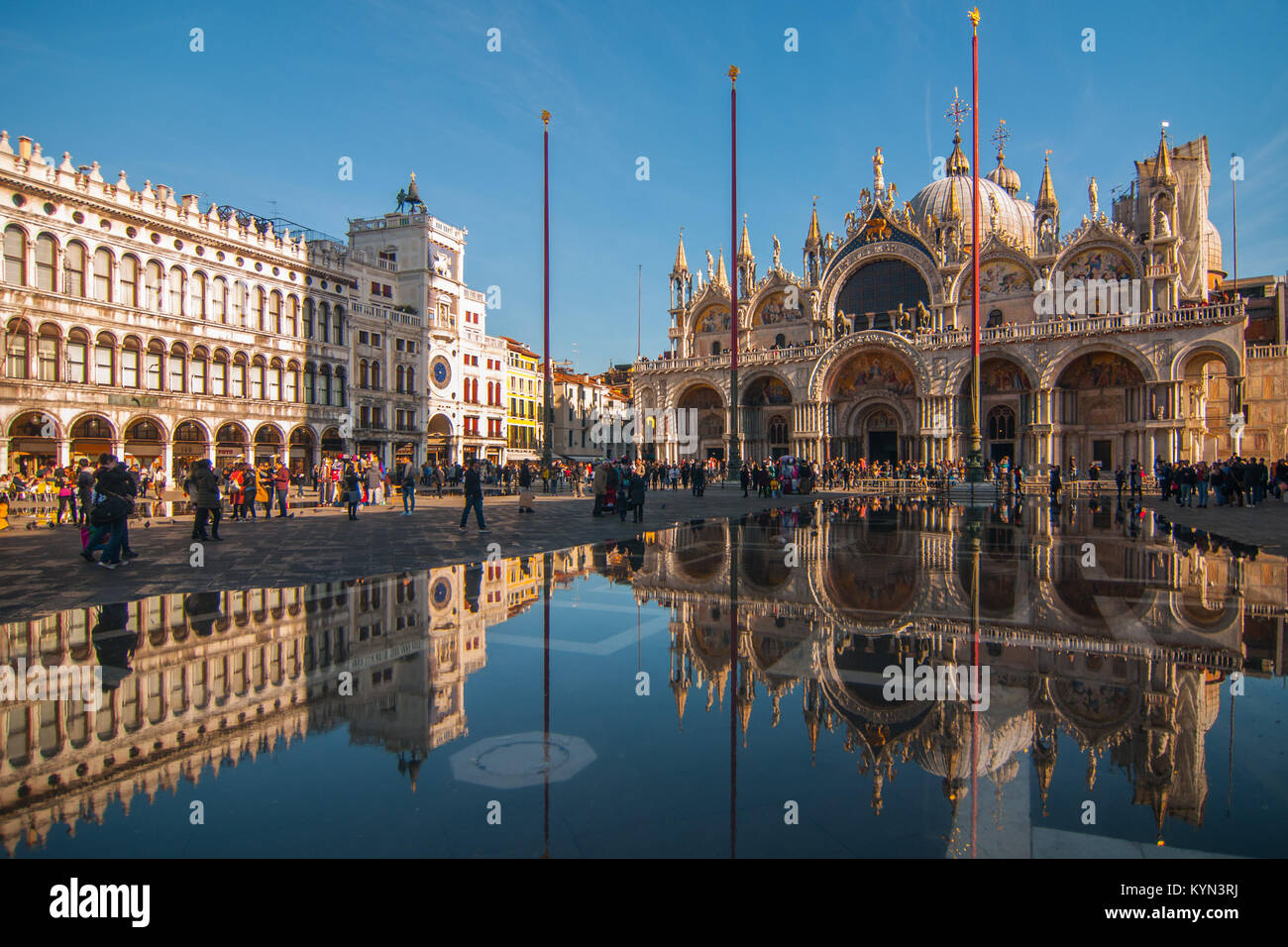 Reflections in the high water in St. Mark square - Stock Image