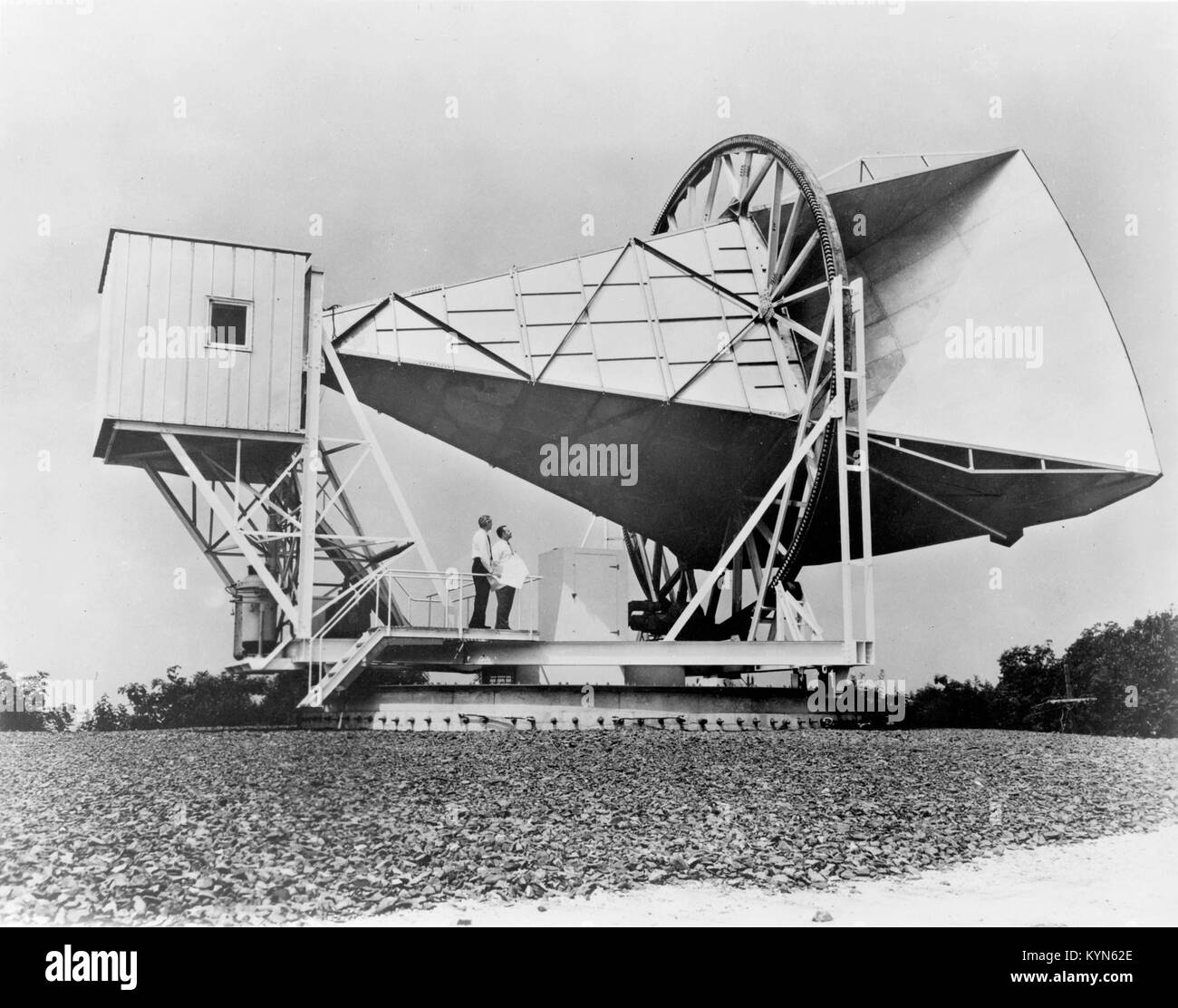 The Holmdel Horn Antenna is a large microwave horn antenna that was used as a radio telescope during the 1960s at - Stock Image