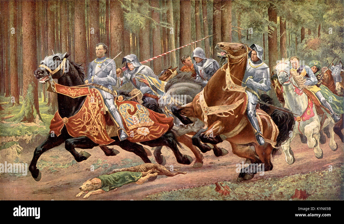Charles' flight after the battle of Grandson, by Eugène Burnand (1894). Charles the Bold was Duke of Burgundy - Stock Image