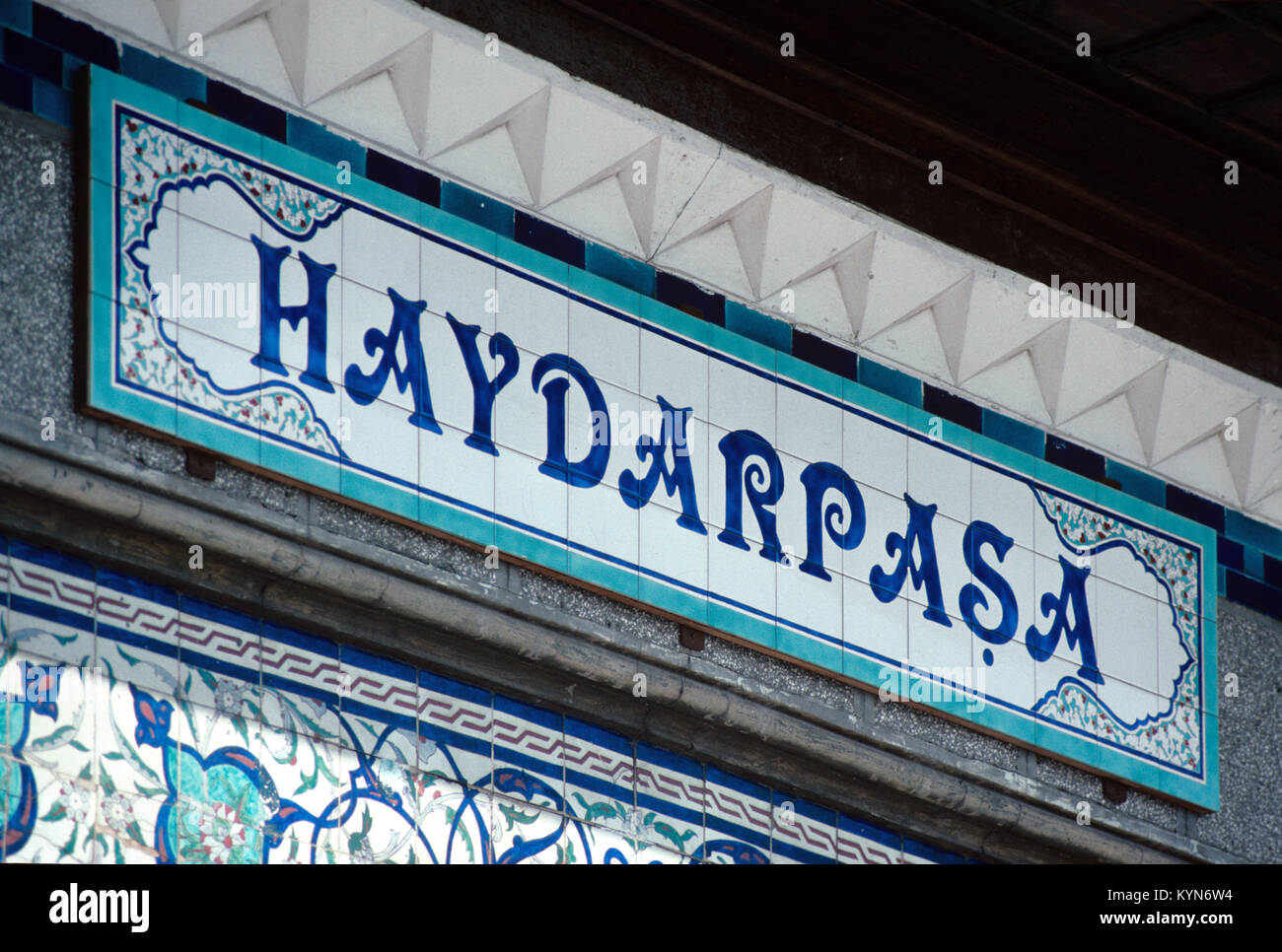 Tiled Place Name Sign at Haydarpasa Ferry Terminal of the Haydarpasa Railway Station, Istanbul, turkey - Stock Image