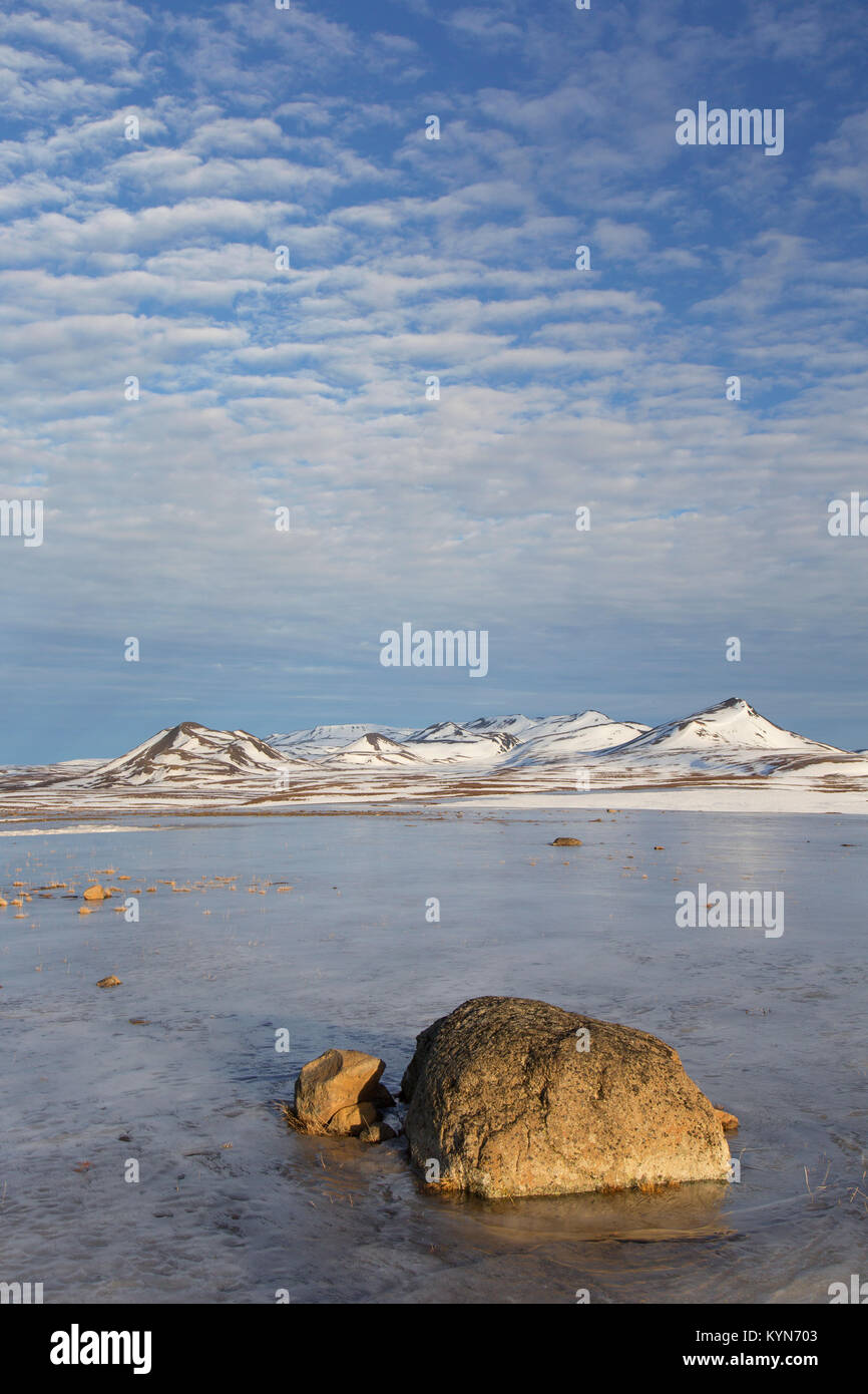View over the mountain range Lambafjöll / Lambafjoell in winter, Northeastern Region / Norðurland eystra, - Stock Image