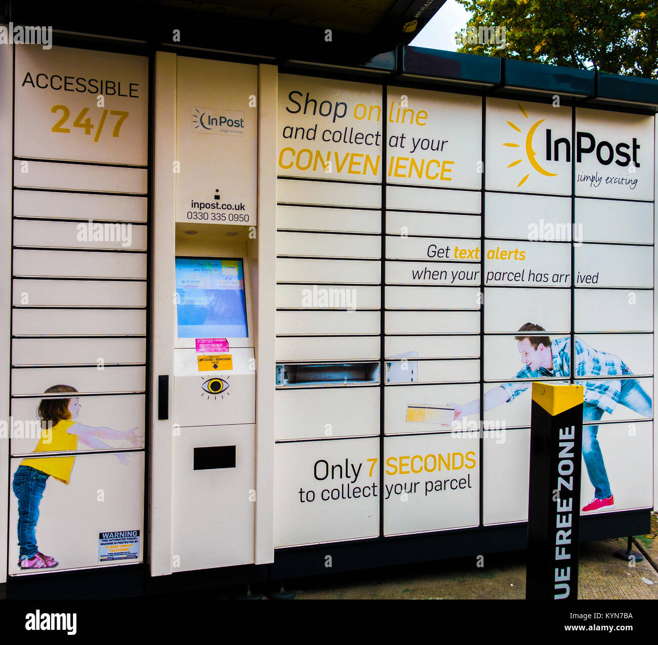 InPost parcel locker (national network click and collect delivery service, accessible 24/7) in South Ealing, London - Stock Image