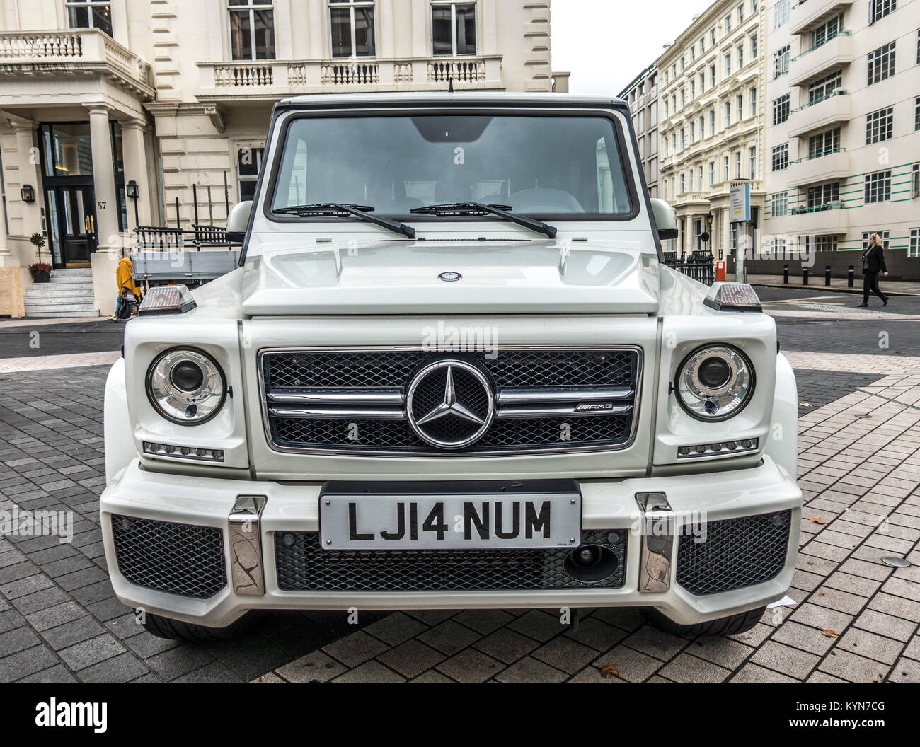 AMG Mercedes Benz G-class car in white, face-on view, parked in Exhibition Road, South Kensington, London, England, - Stock Image