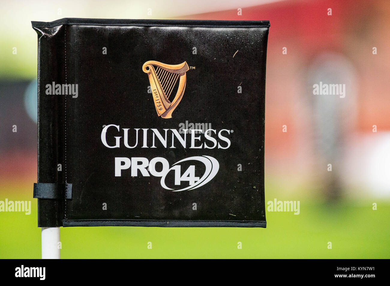 LONDON, ENGLAND - OCTOBER 28: Guinness pro 14 flag ahead of the Premier League match between Arsenal and Swansea - Stock Image