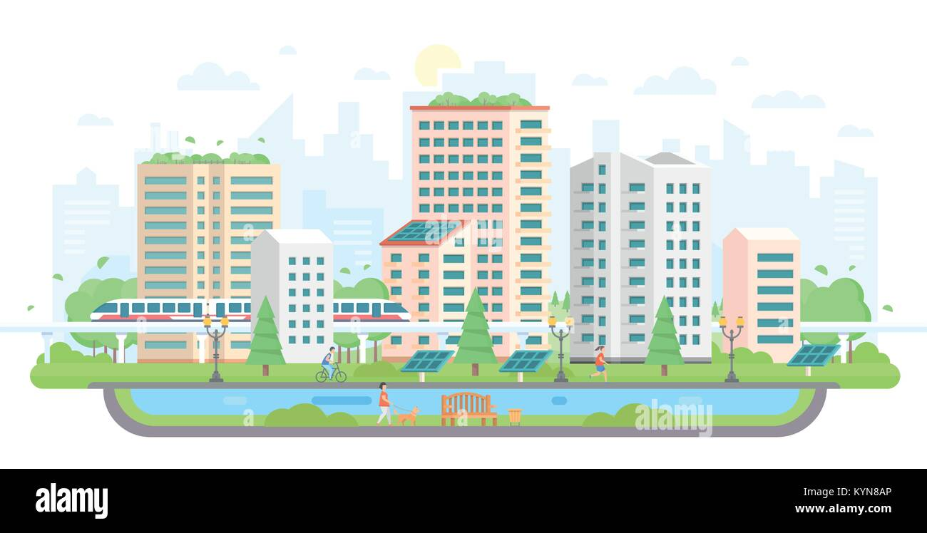 Cityscape with solar panels - modern flat design style vector illustration - Stock Vector