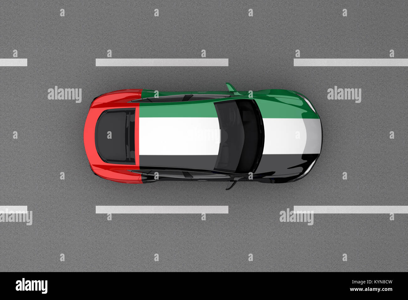car painted from United Arab Emirates country flag. 3d rendering Stock Photo