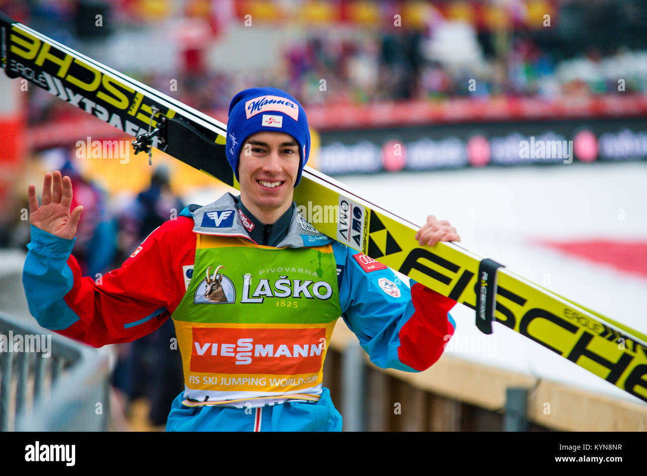 Happy smiling Stefan Kraft preparing to go on the top of the flying hill, Planica 2017, Slovenia, FIS Ski Jumping - Stock Image