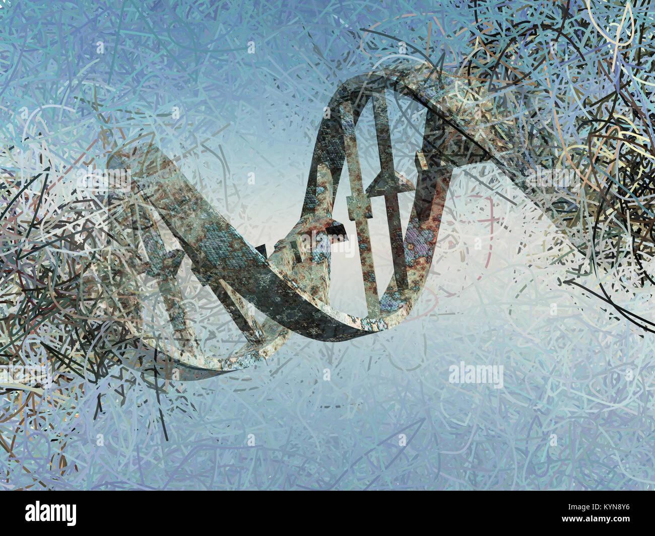 Surreal digital art. Damaged rusted DNA strands. - Stock Image