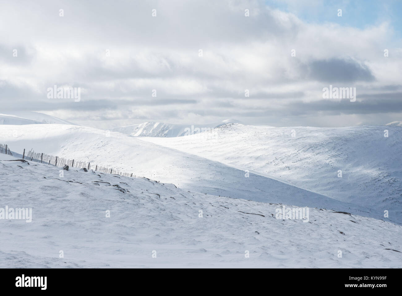 View across Cairngorm national park from cairn gorm mountain - Stock Image