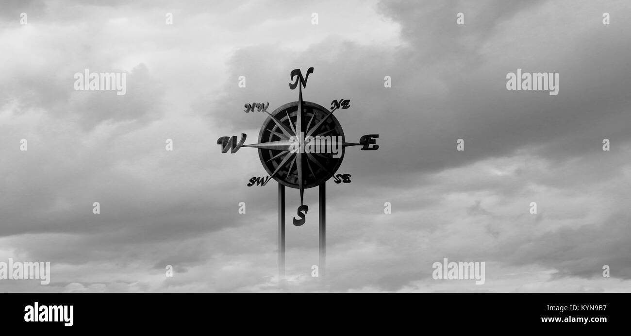 Directions concept as a life purpose guide symbol or business mission guidance and answers to knowing how to proceed - Stock Image